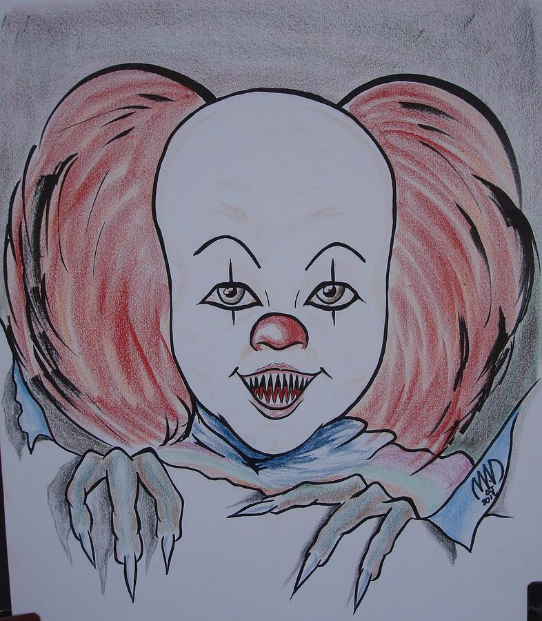 caricature - It Pennywise Drawing by Michael Dijamco