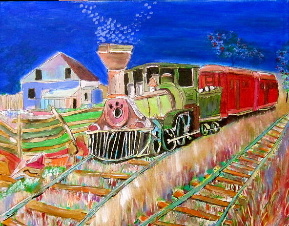 Oldest Train Painting - Carillon Grenville Engine Train by Michael Litvack