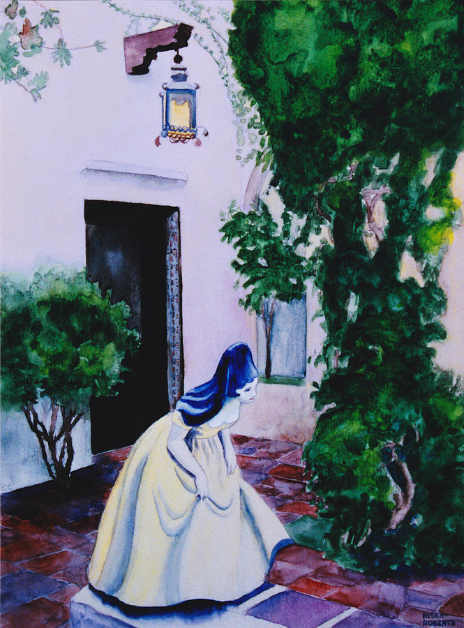 Charming Painting - Carmel California Courtyard by Eve Riser Roberts