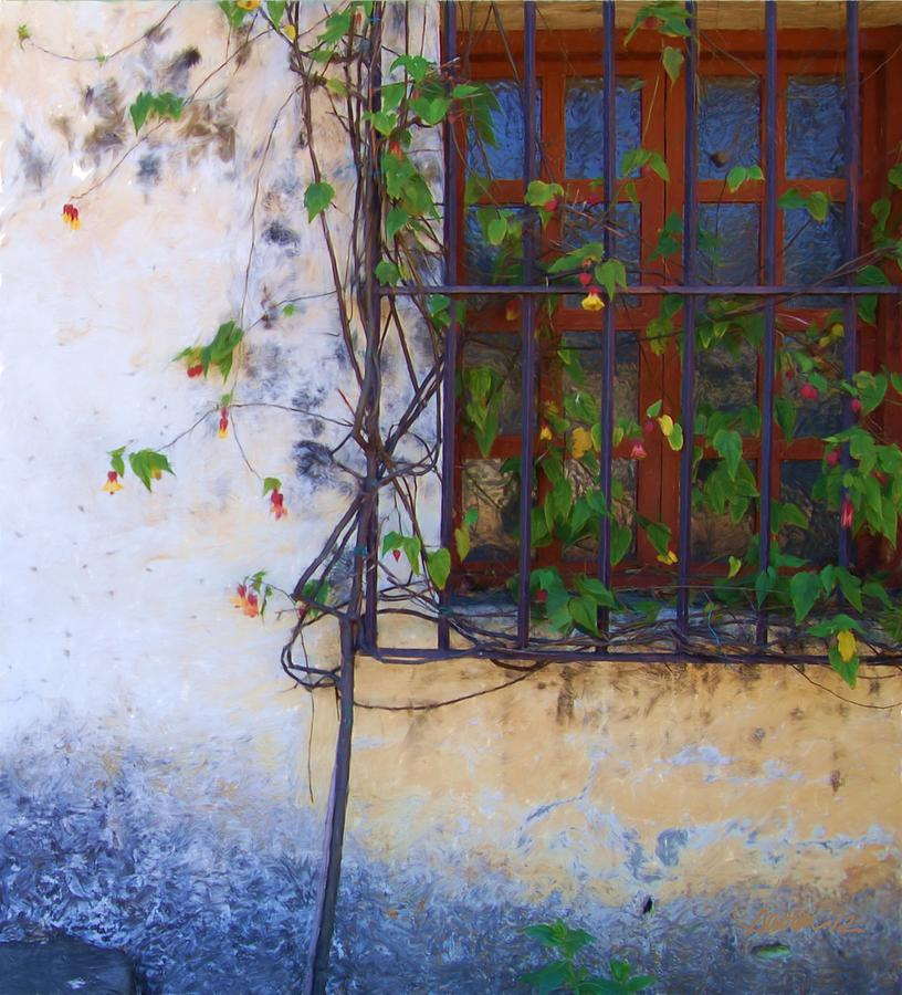 California Painting - Carmel Mission Window And Flowers by Jim Pavelle