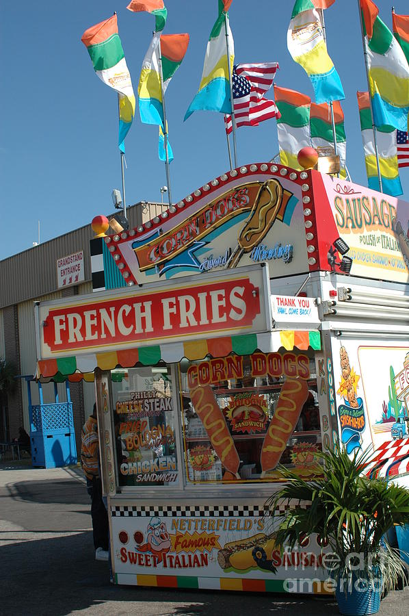 Carnival Art Photography Photograph - Carnival Festival Fun Fair French Fries Food Stand by Kathy Fornal