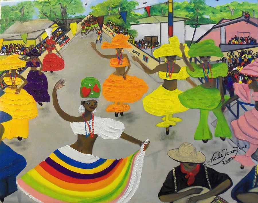 Neg Marron Painting - Carnival In Port-au-prince Haiti by Nicole Jean-Louis