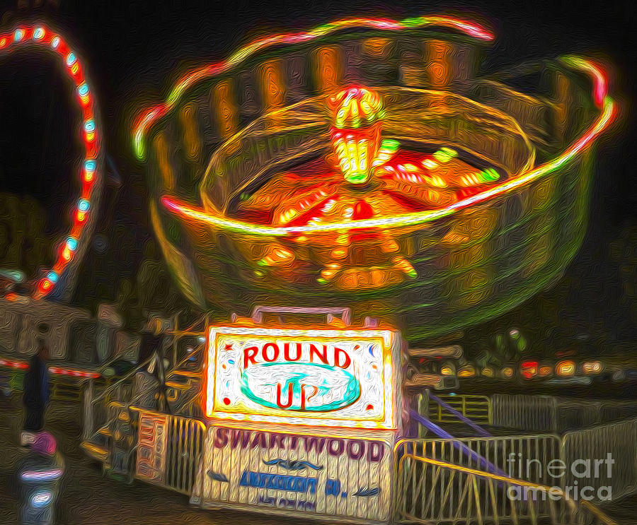 Carnival Painting - Carnival Ride - The Round Up by Gregory Dyer
