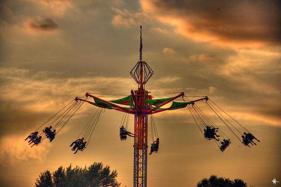 Sunset Photograph - Carnival Ride by Nicholas  Grunas