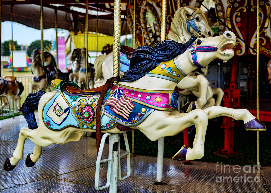 Carousel Photograph - Carousel - Horse - Jumping by Paul Ward