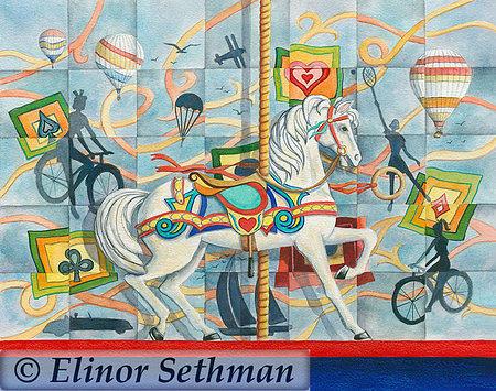 Carousel Horse Painting - Carousel Follies by Elinor Sethman