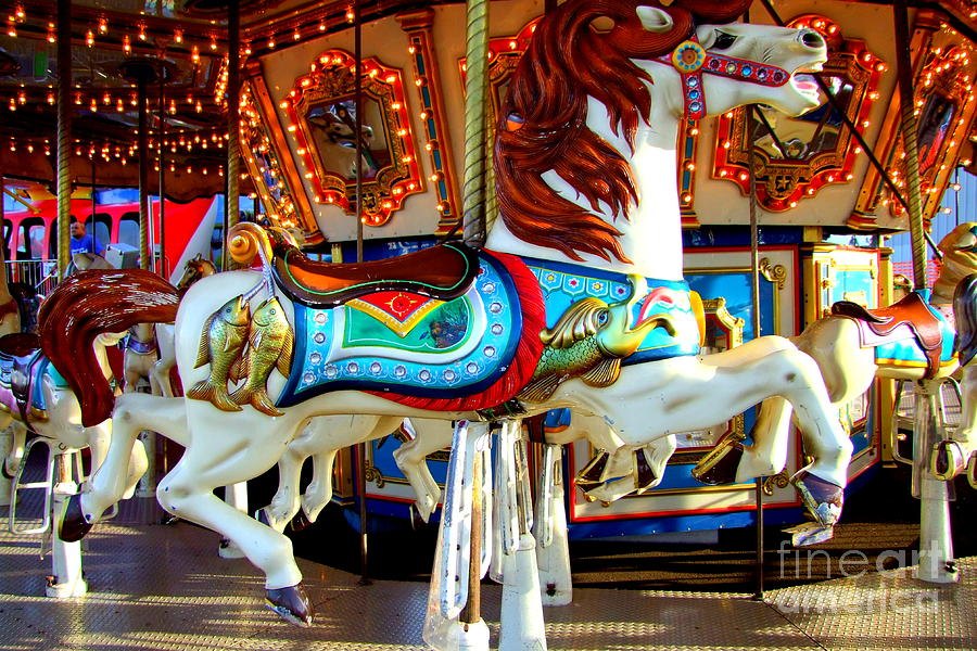 Carousel Horse With Fish Photograph By Mary Deal