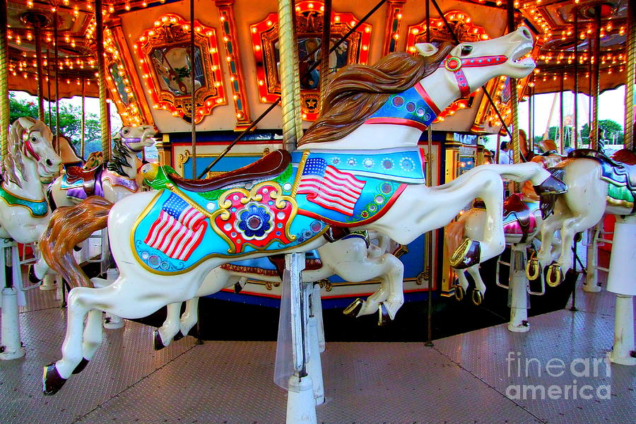 Carousel Horse With Flags Photograph By Mary Deal