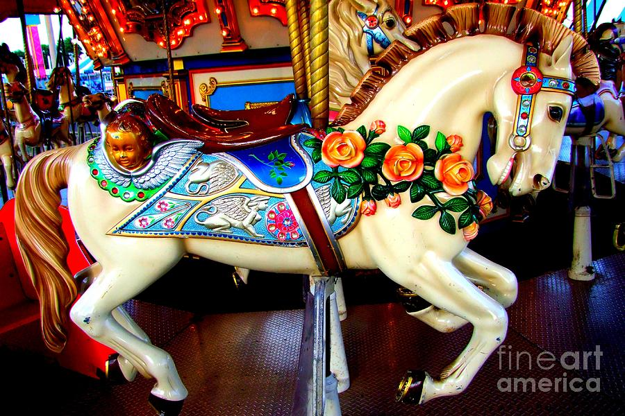 Carousel Horse With Roses Photograph By Mary Deal