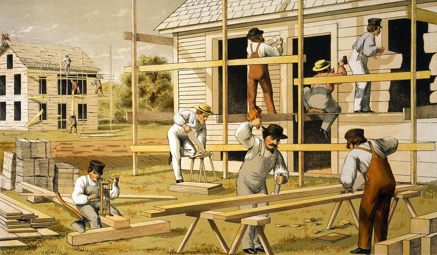 carpenters at work building two houses photograph by everett