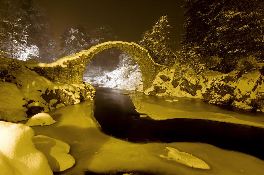 Carr Bridge Photograph - Carr Bridge At Night In Winter by Duncan Shaw