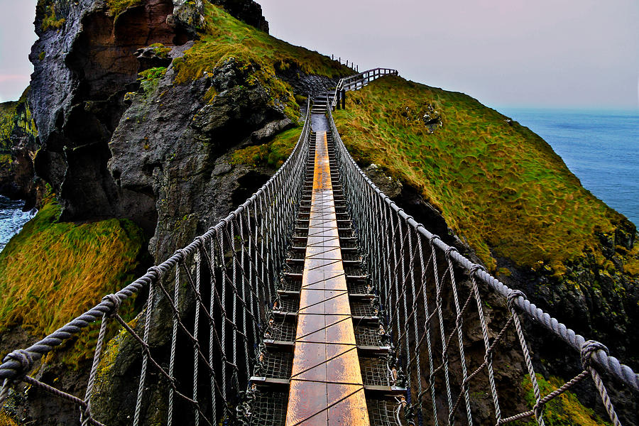 Rope Bridge Photograph - Carrick-a-Rede Rope Bridge by Justin Albrecht