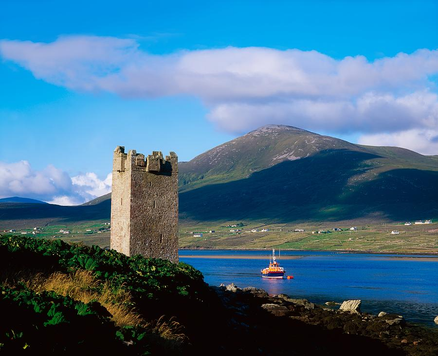 Remote Photograph - Carrickkildavnet Castle, Achill Island by The Irish Image Collection