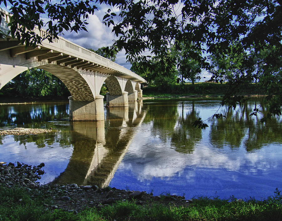 Blue Photograph - Carrollton Bridge Over The Wabash by Jim Finch