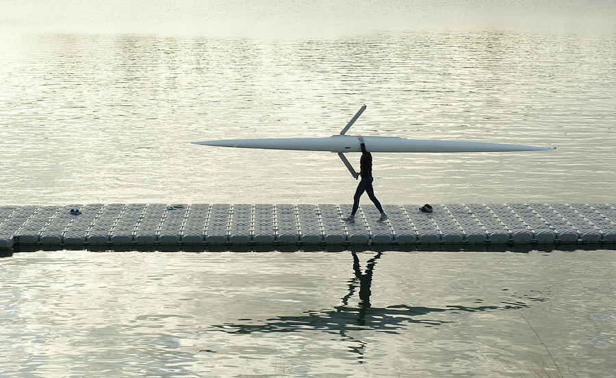 Adult Photograph - Carrying Single Scull by Lynn Koenig