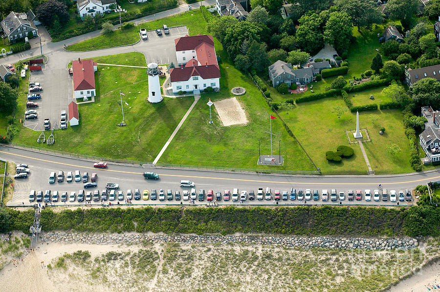 Aerial Photograph - Cars Line Up At The Parking Lot At Chatham Lighthouse And Chatha by Matt Suess