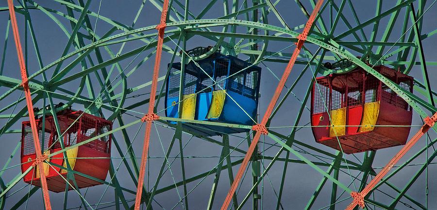 Ferris Photograph - Cars Of Coney Islands Wonder Wheel by Ercole Gaudioso