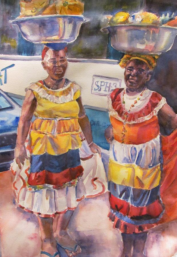 Figures Painting - Cartegna Ladies by Joyce Kanyuk