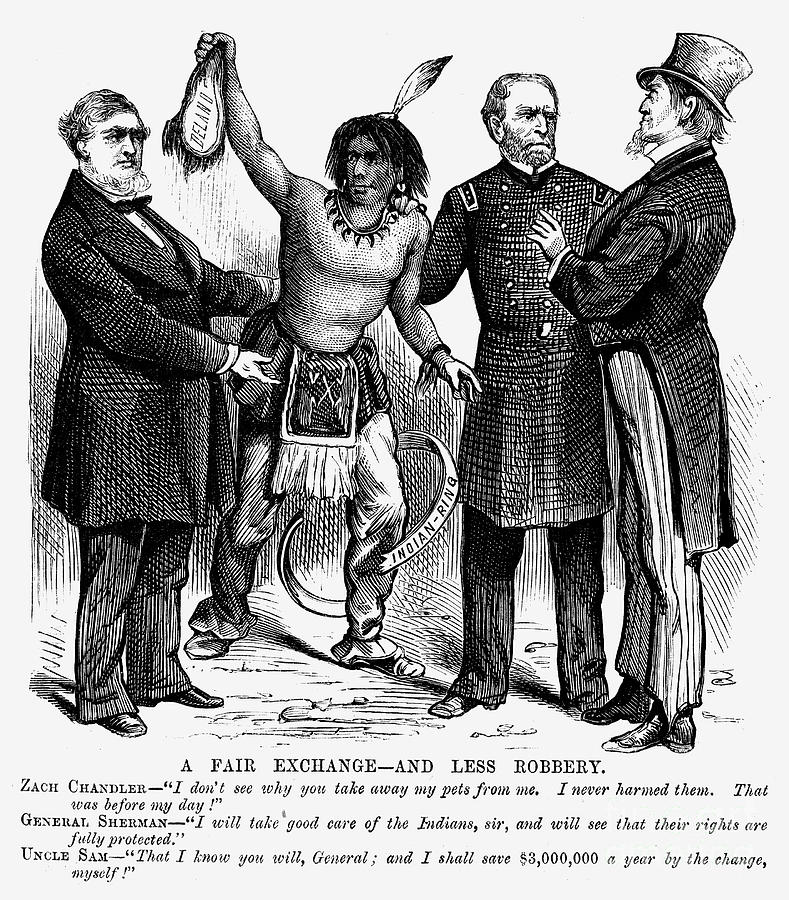 Cartoon: Native Americans, 1876 Photograph by Granger
