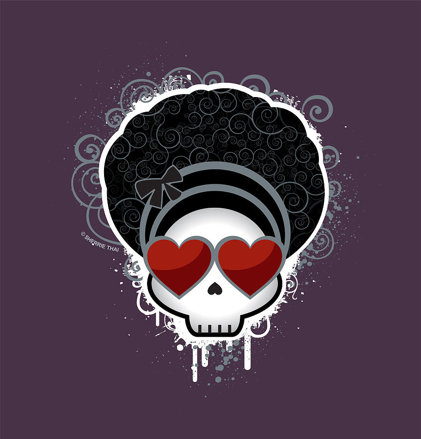 Vertical Photograph - Cartoon Skull With Hearts As Eyes by Sherrie Thai