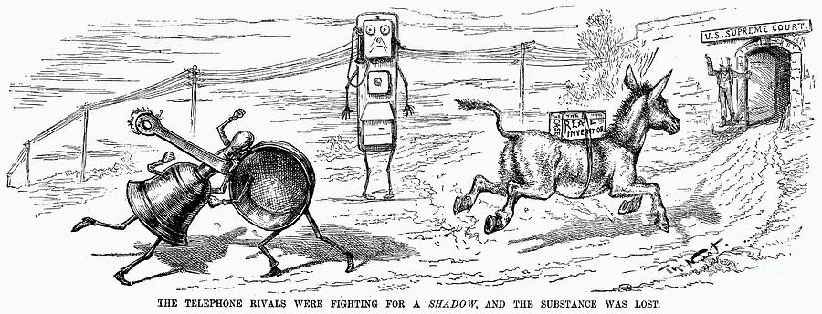 1886 Photograph - Cartoon: Telephone, 1886 by Granger