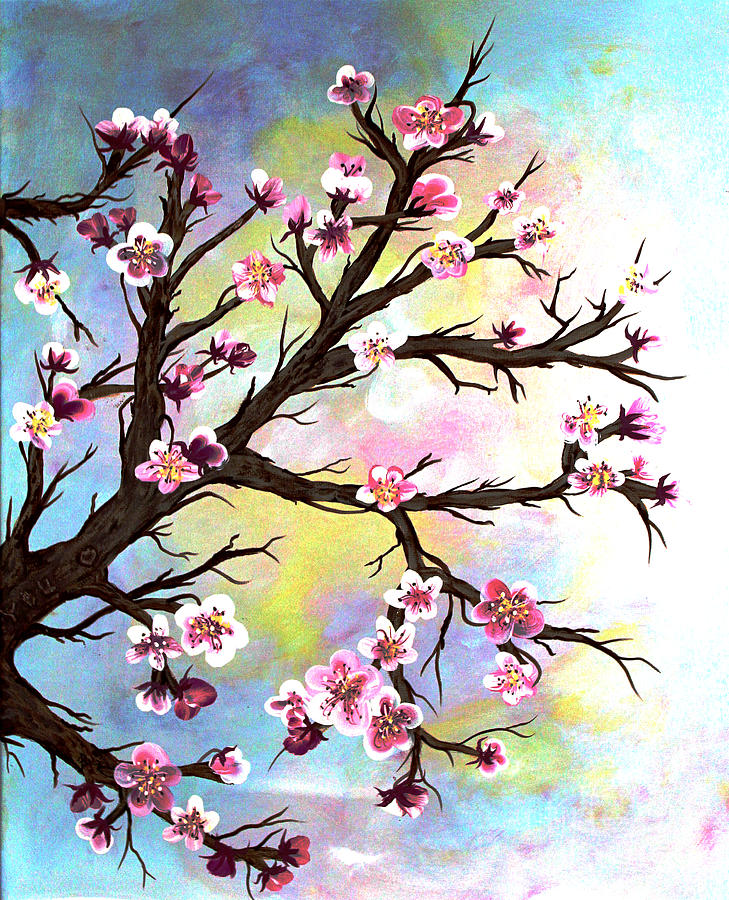 Cherry Tree Painting - Carved In A Cherry Tree I I by Barbara Griffin