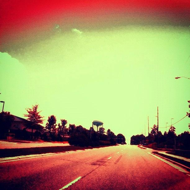 Cary Photograph - #cary #driving #sky #red #watertower by Katie Williams