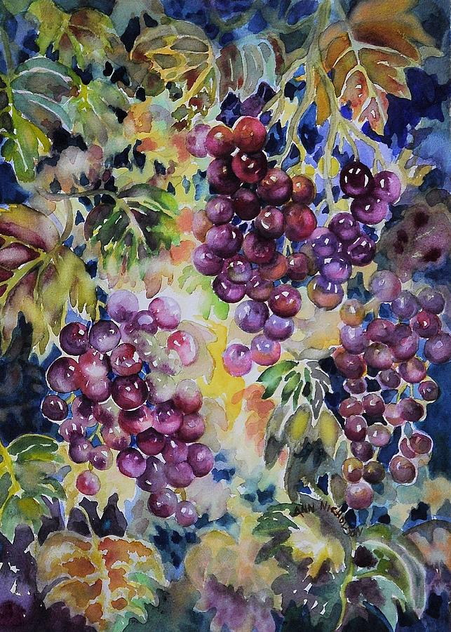 Grapes Painting - Cascade by Ann  Nicholson