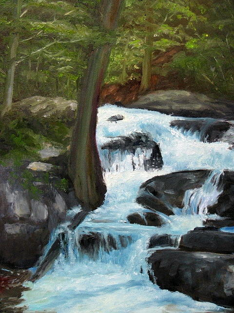 Landscape Painting - Cascade Thru The Woods by Iris Nazario Dziadul