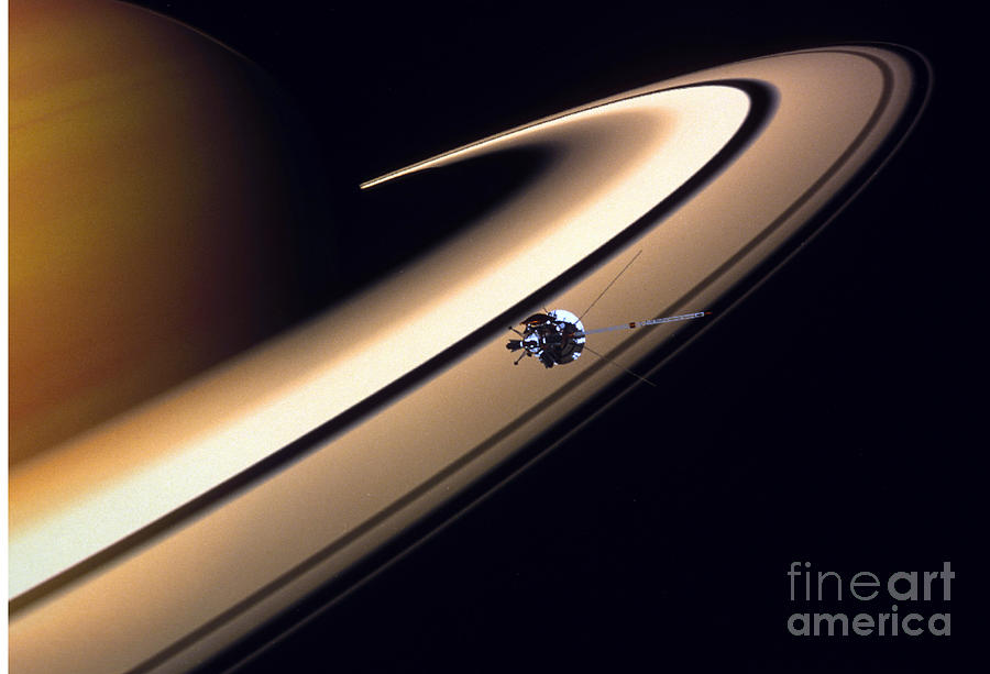 Approaching Drawing - Cassini Spacecraft by Gil Babin and Photo Researchers