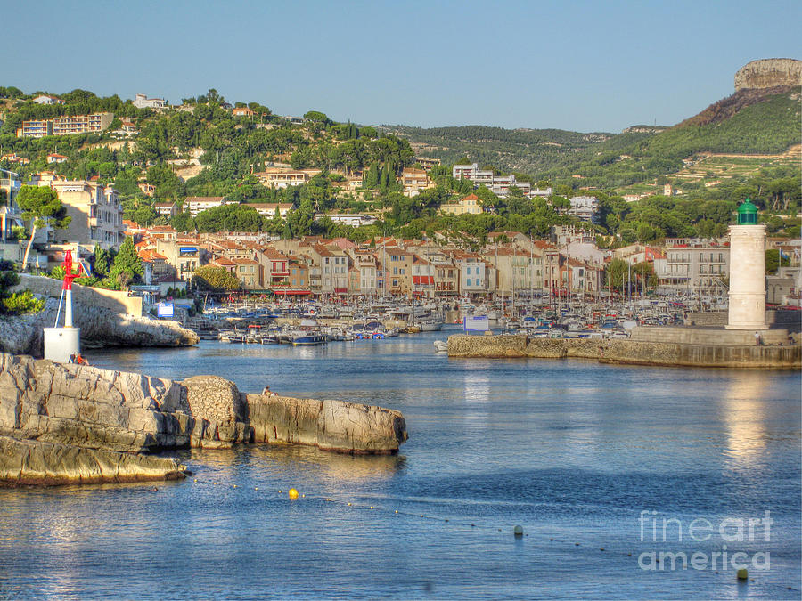 Port Photograph - Cassis - Harbour And Lighthouse 2 by Rod Jones