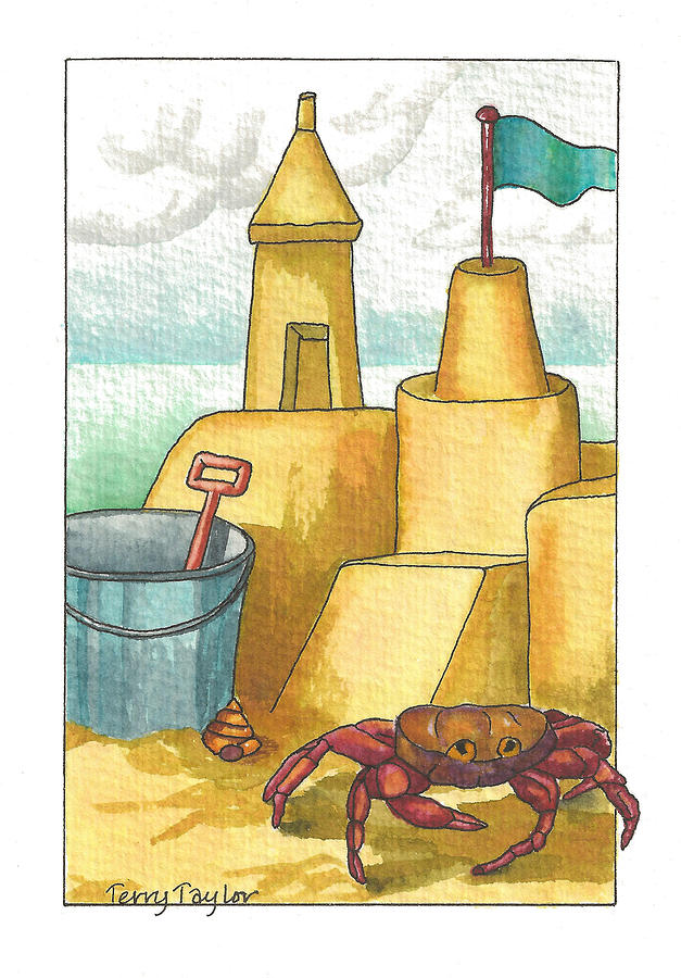 Beach Painting - Castle In The Sand by Terry Taylor