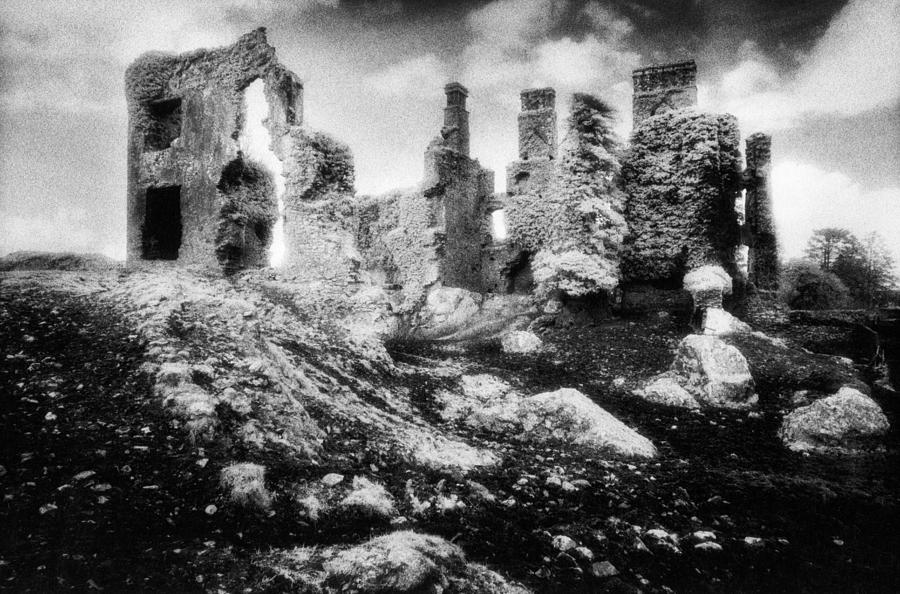 Ruins; Ruined; Remains; Abandoned; Chimneys; Stark; Glowing; Ethereal; Magical; Eerie; Mysterious; Mystery; Irish; Landscape; Architecture; Overgrown; Covered; Foliage Photograph - Castle Lyons by Simon Marsden