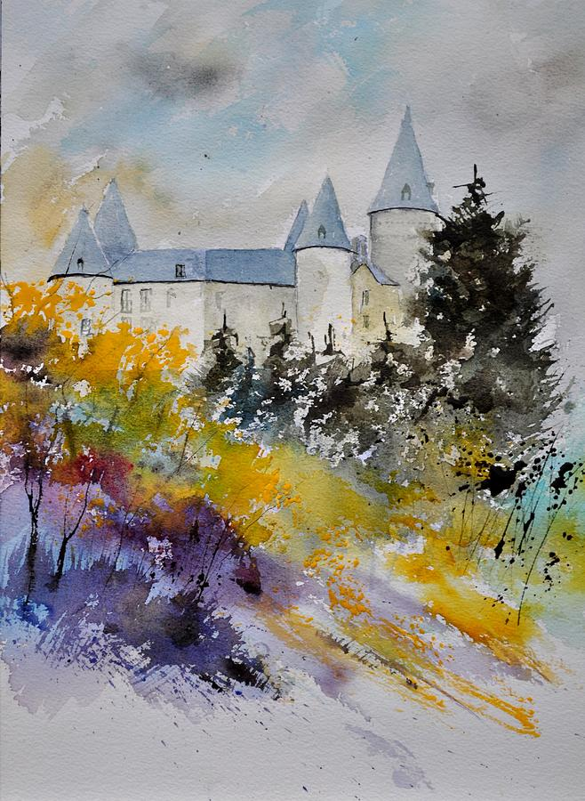 Landscape Painting - Castle Of Veves Belgium by Pol Ledent