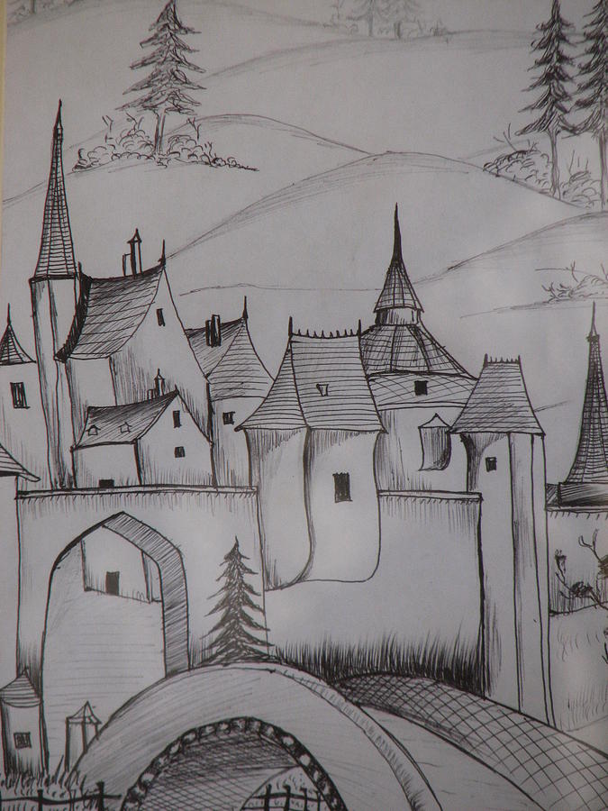 Castle On Hilltop Drawing By Ghosh Bose