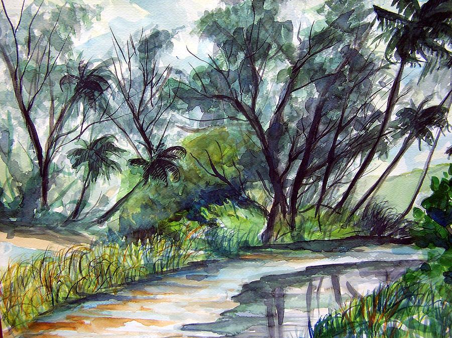 Jon Shepodd Painting - Casuarinas And Palms by Jon Shepodd