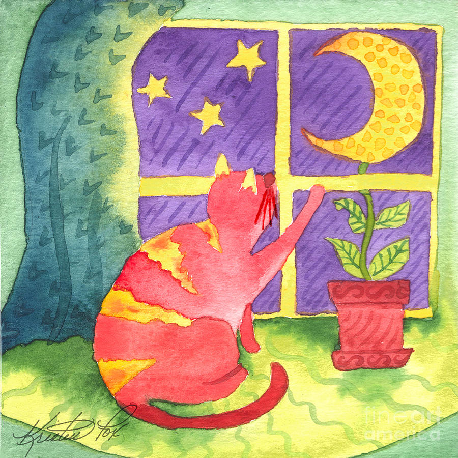Watercolor Painting Painting - Cat And Moon by Kristen Fox