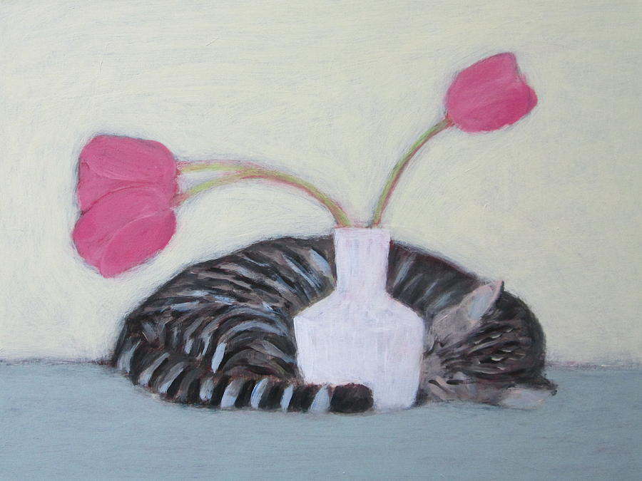Cat and Tulips by Kazumi Whitemoon