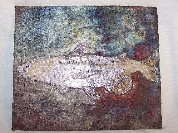 Cat Fish Ceramic Art by Michelle Wildgruber