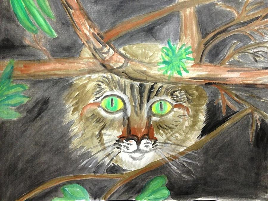 Cat Painting - Cat in the bushes by Caroline Lifshey