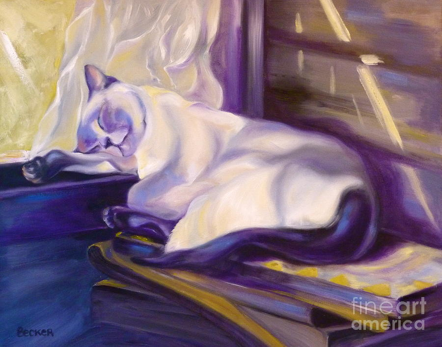 Cat Painting - Cat Nap In The Office by Susan A Becker