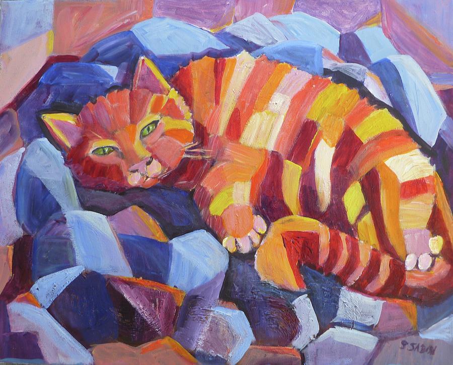 Cat Painting - Cat Nap by Saga Sabin