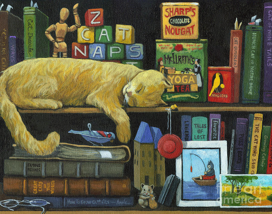Cat Painting - Cat Naps - Old Books Oil Painting by Linda Apple