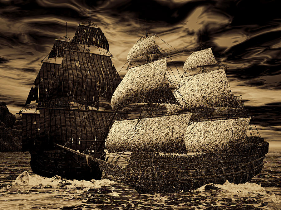 Black Pearl Photograph - Catastrophic Collision-sepia by Lourry Legarde