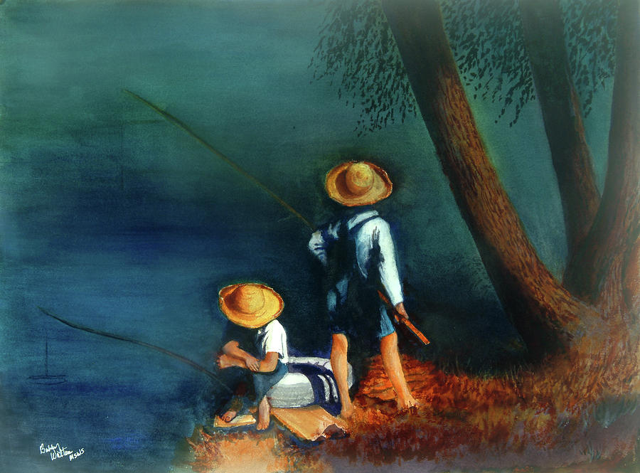 Boys Painting - Catch n Supper by Bobby Walters