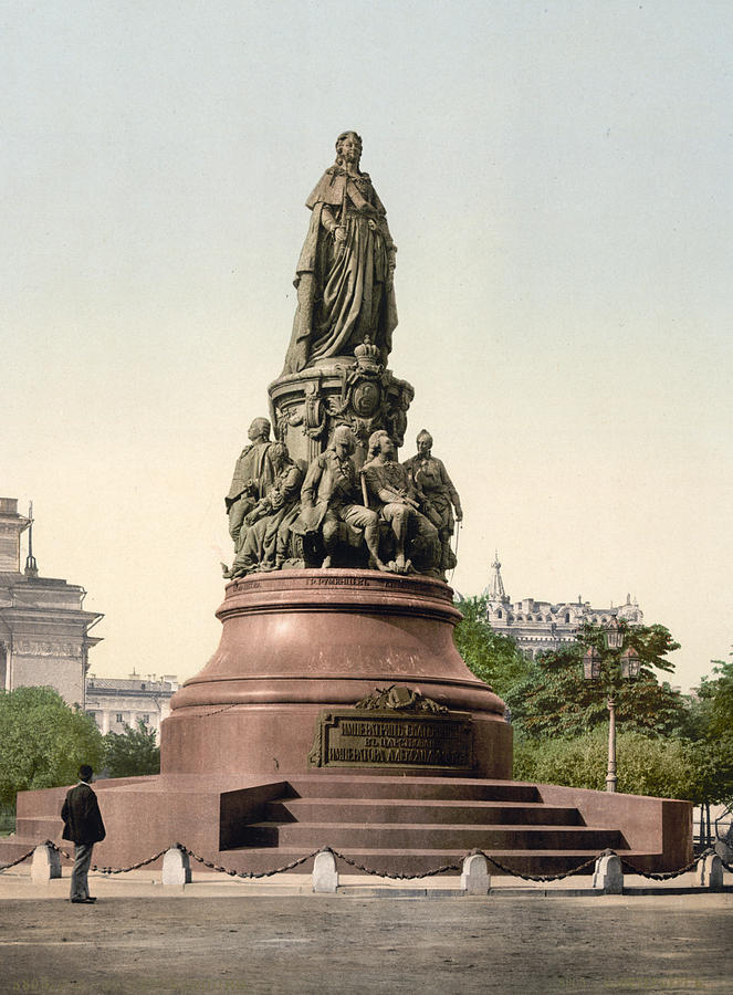 st. Petersburg Russia  Photograph - Catherine II Monument In St. Petersburg Russia by International  Images