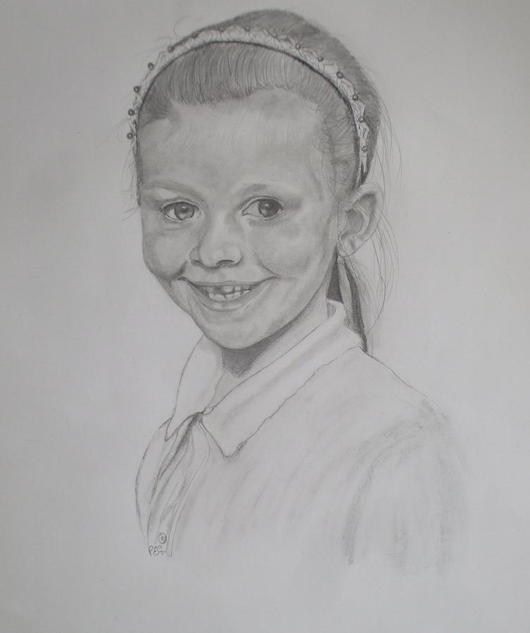 Pencil Drawing - Catherines Grandaughter by Peter Edward Green
