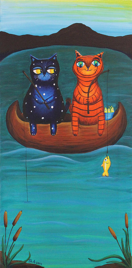 Cats Painting - Cats Fish by Jennifer Alvarez