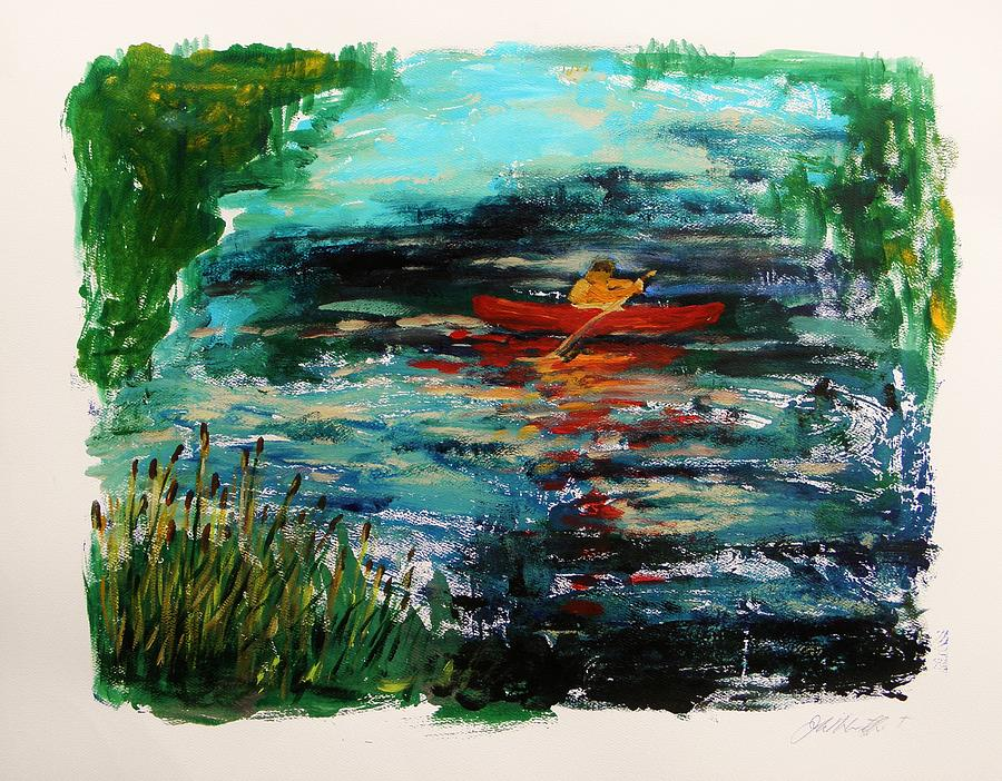 Red Canoe Painting - Cattails And Canoe by John Williams