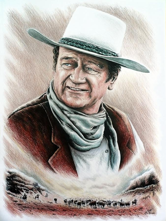 John Wayne Drawing - Cattle Drive Color Edit 1 by Andrew Read